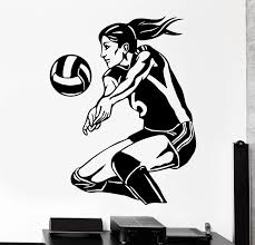 Removable Women S Volleyball Vinyl Wall Stickers Sports Living Room Bedroom Mural Art Home Decoration Wall Decals Poster W 1038 Vinyl Wall Stickers Decorative Wall Decalwall Sticker Aliexpress