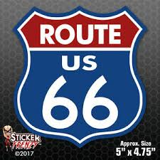 Route 66 Sticker Blue Red Bumper Vinyl Decal Sign Car Truck Window Usa Fs700 Ebay