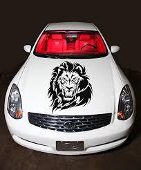 Amazon Com Car Hood Vinyl Sticker Decal Lion Head Flaming Tattoo N555 Home Kitchen