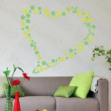 Green Floral Heart Large Wall Decals Stickers Appliques Home Decor Walmart Com Walmart Com