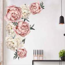 Amazon Com Peony Flowers Wall Sticker Waterproof Pvc Peony Rose Flowers Wall Decals Removable Floral Wall Decor Sticker For Living Room Bedroom Nursery Room Kitchen Dining