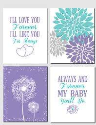 Kids Wall Art Purple Teal Aqua Nursery Art Brooklyn Nursery Girls Room I 39 Ll Love You Forever Baby Girl Room Purple Baby Girl Nursery Room Baby Girl Bedroom