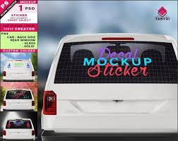 Decal On White Car Rear Window Photoshop Sticker Mockup Etsy