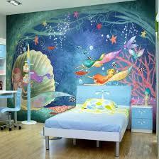 High Quality Under The Sea Cartoon Mermaid Wallpaper Mermaids Tropical Fish Ocean Wall Paper Fo Kids Room Wallpaper Childrens Bedroom Wallpaper Kid Room Decor