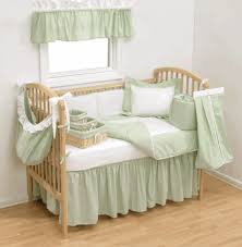 gingham baby bedding sage green