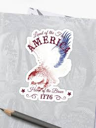 america land of the home of the brave quote sticker by