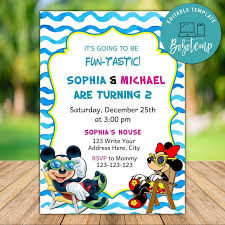 Invitaciones De Cumpleanos De Mickey Y Minnie Twin Imprimibles Diy