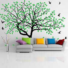 Amazon Com 63 X 46 Vinyl Wall Decal Stylish Huge Thin Tree With Falling Leafs And Birds Nature Art Decor Home Sticker Diy Mural Free Random Decal Gift Kitchen Dining