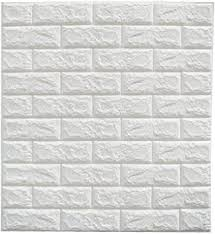 Amazon Com Cmming 3d Brick Wall Stickers Pe Foam Self Adhesive Wallpaper Peel And Stick 3d Art Wall Panels For Tv Walls Sofa Background Wall Decor White Home Kitchen
