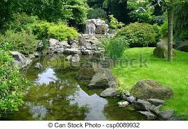 japanese garden waterfall and river in