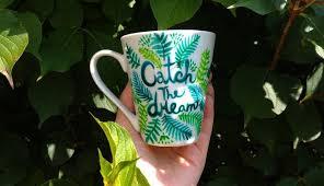 Catch The Dream Porcelain Mug Positive Quote Mugs Green Turquoise Fern Tea Cup Happy Coffee Mug Hand Painted Plants Botanical Art Mugs Happy Coffee Porcelain Mugs