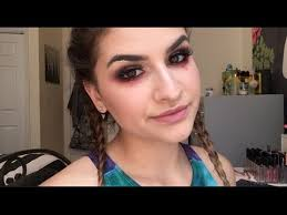 rave makeup tutorial red glitter