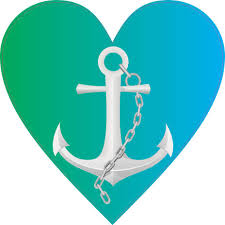 4in X 4in Green And Blue Anchor Heart Bumper Sticker Vinyl Decal Stickers Stickertalk
