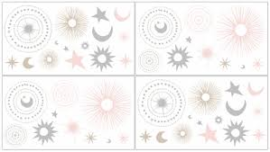 Blush Pink Gold Grey And White Star And Moon Peel And Stick Wall Decal Stickers Art Nursery Decor For Celestial Collection By Sweet Jojo Designs Set Of 4 Sheets Only 24 99