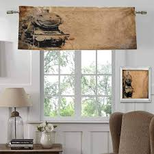 Amazon Com Blackout Valance Steam Engine Home Fashion Blackout Curtains Antique Old Iron Train Aged Sepia Grunge Style Design Industrial Theme Artsy Print For Kids Girls Boys Bedroom Rod Pocket Panel 54 W X