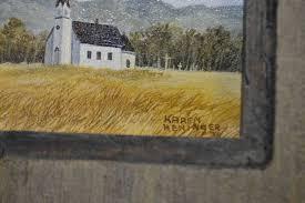Four framed original artworks including Leola Smith 1974, M.J. ...