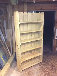 Bookshelf Made From Leftover Fence Boards And 16 Inch Shelf Boards Old Fence Boards Fence Board Crafts Fence Panels For Sale