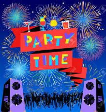 Tiempo De Fiesta Letras En Banner Cartel Del Club Disco Con