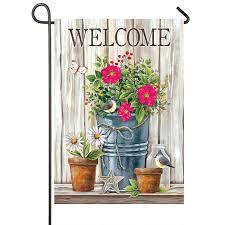 wildflower pail welcome garden flag