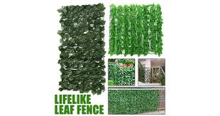 Dick Smith 2 Size Artificial Fence Hedge Fake Vertical Garden Green Wall Ivy Mat Fence Artificial Plant Grass B 0 5x1m Floral Decor