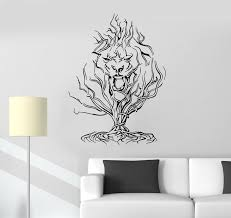 Wall Decal Tree Head Animal Lion Mane Abstract Tiger Vinyl Sticker Ed Wallstickers4you