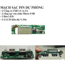 Mạch sạc dự phòng 2A 2 cổng ra có LCD hiển thị dòng sạc và % pin ...