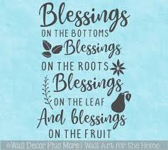 Kitchen Wall Decal Quote Blessing On Root Leaf Fruit Decor Sticker Verse