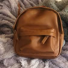 brown faux lather mini backpack