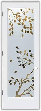 cherry tree sandblast etched glass door