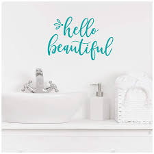 Hello Beautiful Motivational Vinyl Lettering Wall Decal Sticker Cursive 6 5 H X 9 5 W Turquoise Walmart Com Walmart Com
