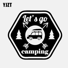 Yjzt 14 5cm 13cm Interesting Let S Go Camping Car Window Sticker Decal Black Silver Vinyl C11 1835 Car Stickers Aliexpress