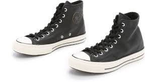 mens black leather converse high tops