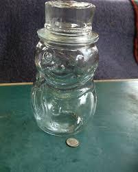 vintage clear glass snowman jar top hat