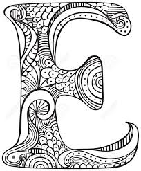 Hand Drawn Capital Letter E In Black Coloring Sheet For Adults