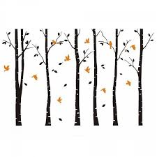 Large Birch Trees Wall Decals With Birds Vinyl Wall Art Removable Mural Stickers For Room Decoration Wallsymbol Com