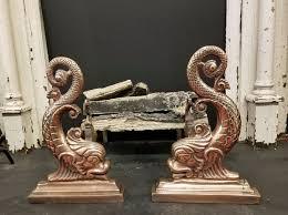 brass dolphin fireplace andirons