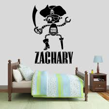 Swords Robot Wall Decal Personalized Custom Name Pirate Vinyl Wall Sticker Kids Boys Bedroom Nursery Interior Decor Gift M445 Wall Stickers Aliexpress