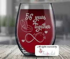 56th wedding anniversary wine gl