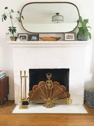 vintage brass fireplace screen