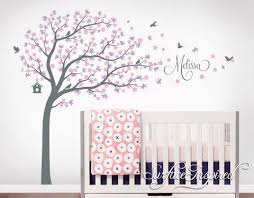Nursery Wall Decals Stickers Large Cherry Blossom Tree With Personaliz Surface Inspired Home Decor Wall Decals Wall Art Wooden Letters