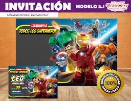 Invitacion Editable Lego Marvel Super Heroes 2 1 100 00 En