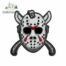 Earlfamily 13cm X 12 8cm For Jason Mask With Machetes Car Stickers Decals Repair Sticker Creative Stickers Suitable For Gtr Car Stickers Aliexpress
