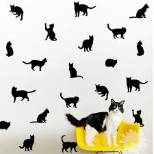 Cat Pattern Wall Decal Set Black Kitty Wall Decal Cat Silhouette Stickers Cat Lovers Gift Nursery Girls Room Decor Animal Art Wall Stickers Aliexpress