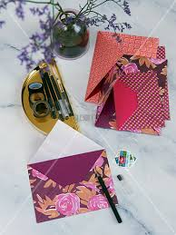 homemade envelopes made from colourful