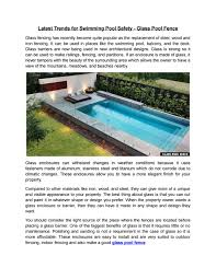 Latest Trends For Swimming Pool Safety Glass Pool Fence By Clear View Glass Solutions Issuu