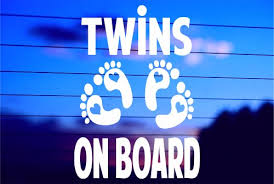 Twins On Board Car Decal Sticker