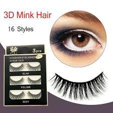 3 pairs 100 real 3d mink makeup cross