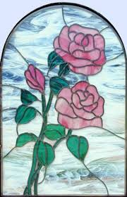 leaded glass pink roses window