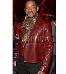 biker style will smith red leather