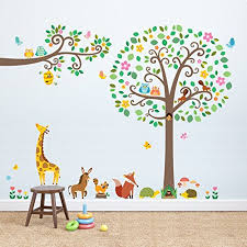 Decowall Dml 1502p1512 Large Scroll Tree And Branches With Animals Kids Wall Decals Wall Stickers Peel And Stick Removable Wall Stickers For Kids Nursery Bedroom Living Room Baby B01bhl6bd0